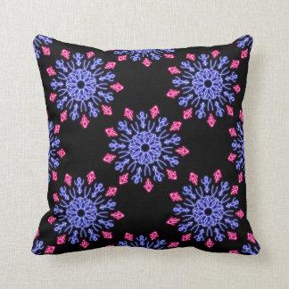 Almofada Flor de néon azul e vermelha