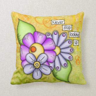 Almofada Flor positiva do Doodle do pensamento do prazer da