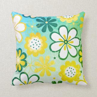 Almofada Flor verde retro do jardim do vintage floral da