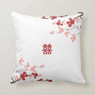 Almofada Flores de cerejeira chinesas do casamento da