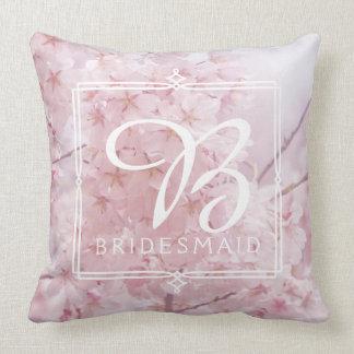 Almofada Flores de cerejeira rosas pálido da dama de honra