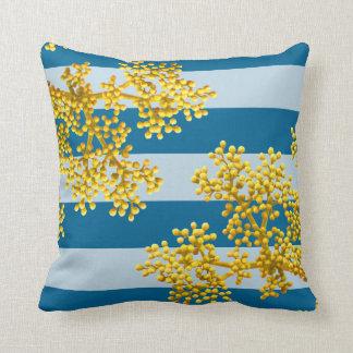 Almofada Flores em botão & listras amarelas douradas à moda