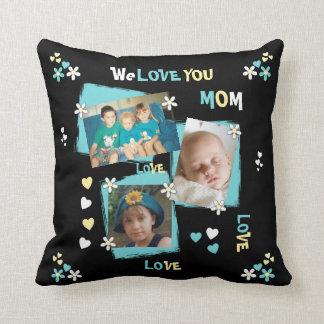 Almofada Foto personalizada para o preto da mãe da mamã