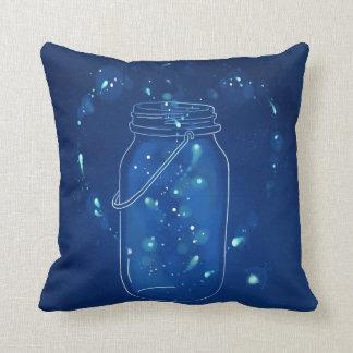 Almofada Frasco moderno azul do amor do vaga-lume