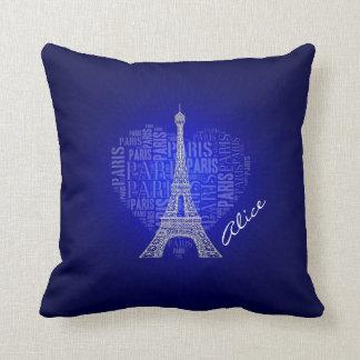 Almofada Fundo do azul do fulgor de Paris do amor