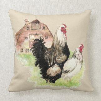 Almofada Galinhas galinha da aguarela & pássaros da fazenda