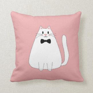 Almofada Gato branco no rosa
