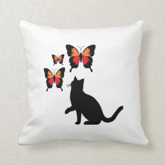 Almofada Gato preto e travesseiro das borboletas