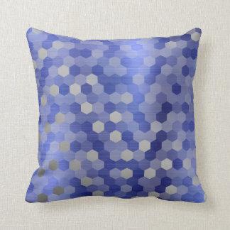 Almofada Geometria azul do hexágono da safira de prata