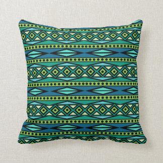 Almofada Geométrico azul & verde asteca tribal moderno
