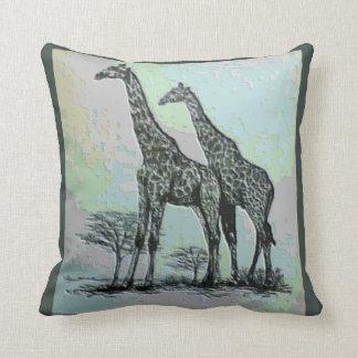 Almofada Girafas africanos retros raros no design da cor
