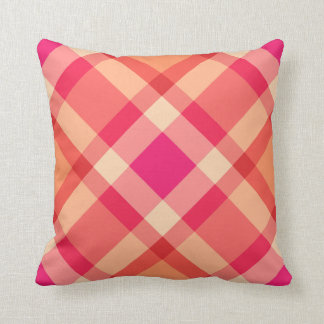 Almofada Grande rosa moderno da xadrez, da laranja, do