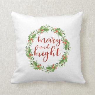 Almofada Grinalda-feliz do Natal e brilhante