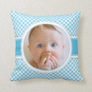 Almofada Guingão do azul da fotografia da foto do bebê da