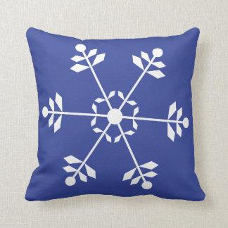 Almofada #HolidayZ azul e branco do travesseiro do floco de