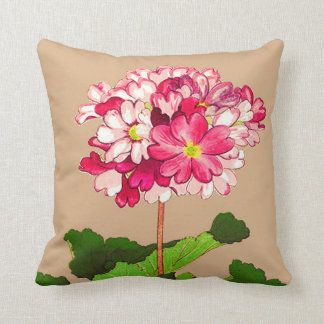 Almofada Hydrangea do japonês do vintage. Rosa e verde