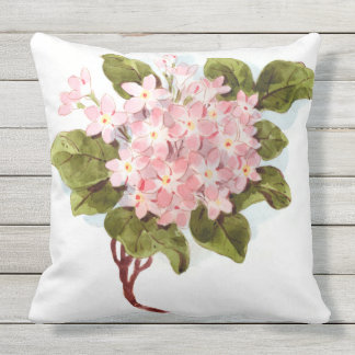 Almofada Hydrangea do rosa da aguarela do vintage