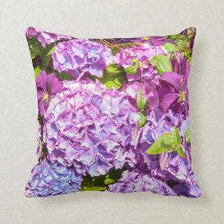 Almofada Hydrangea violeta, travesseiro do jardim