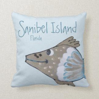 Almofada Ilha adorável de Sanibel da arte dos peixes de