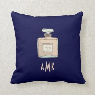 Almofada Ilustração da garrafa de Parfum com iniciais do