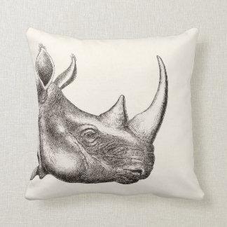 Almofada Ilustração do rinoceronte do vintage