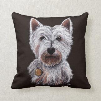 Almofada Ilustração ocidental do Pastel do cão de Terrier