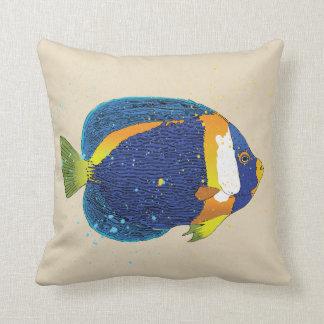 Almofada Ilustração tropical amarela azul brilhante do