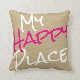 Almofada Impressão cor-de-rosa e branco do meu lugar feliz