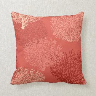 Almofada Impressão coral do fã, máscaras da laranja coral
