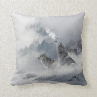 Almofada Impressão do lobo da neve