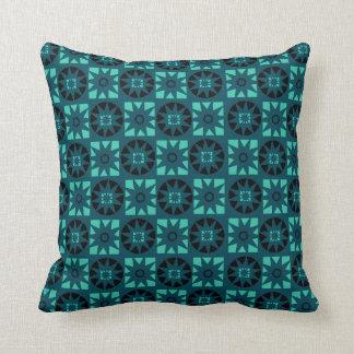 Almofada Impressão floral geométrico azul & preto da luz -