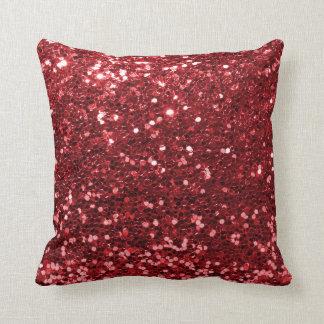 Almofada Impressão vermelho do brilho do falso do rubi