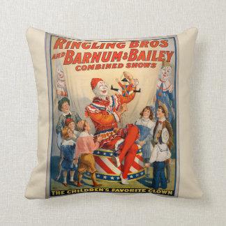 Almofada Irmãos de Ringling do poster vintage do palhaço de