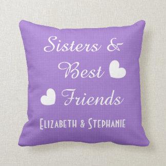 Almofada Irmãs e melhores amigos roxos 2 corações V01A