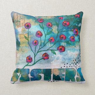 Almofada IRMÃS - pintura floral original em um travesseiro