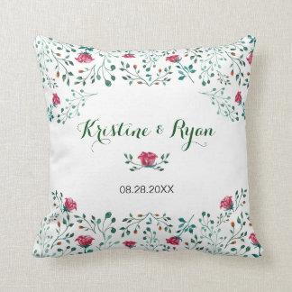 Almofada Jardim de rosas da aguarela