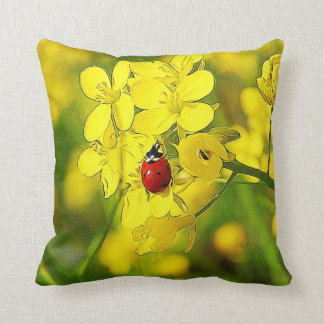 Almofada Joaninha amarelo do vermelho da boa sorte da flor