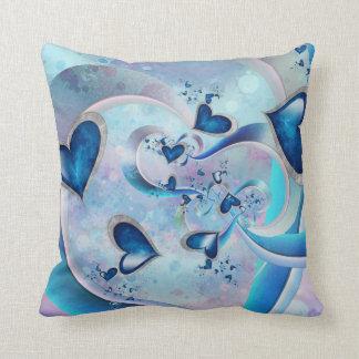 Almofada Jóias azuis do Fractal dos corações do oceano