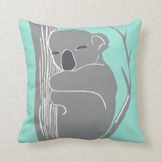 Almofada Koala do sono cinzento e travesseiro da hortelã