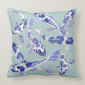 Almofada Koi azul e branco