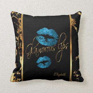 Almofada Lábios azuis glamoroso do brilho de turquesa