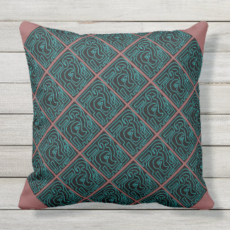 Almofada Labirinto da cerceta no preto e no travesseiro