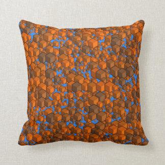 Almofada Laranjas dos cubos e travesseiro azul