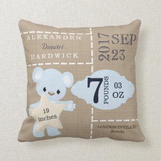 Almofada Lembrança azul do Stats do nascimento do urso de
