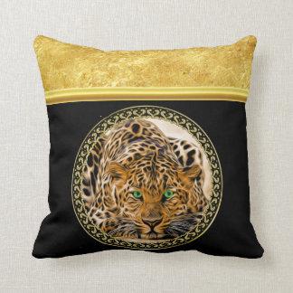 Almofada Leopardo do olho verde com folha de ouro manchada