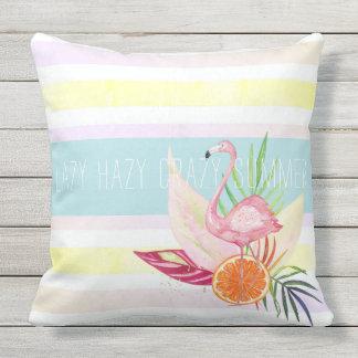 Almofada Listra Pastel do verão, flamingo, tropical