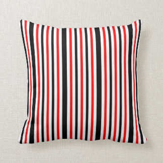 Almofada Listras brancas e pretas vermelhas