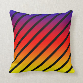Almofada Listras diagonais do arco-íris, coxim do lance