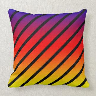 Almofada Listras diagonais do arco-íris, coxim grande do