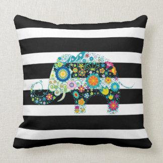 Almofada Listras pretas & brancas & elefante floral